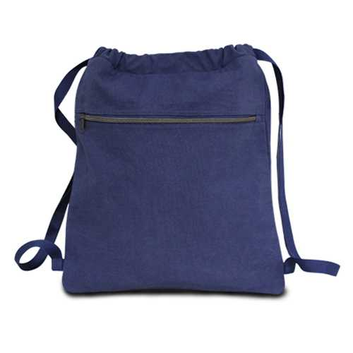 """Case of [48] 14"""" Classic Dyed Canvas Drawstring Backpack - Washed Navy"""