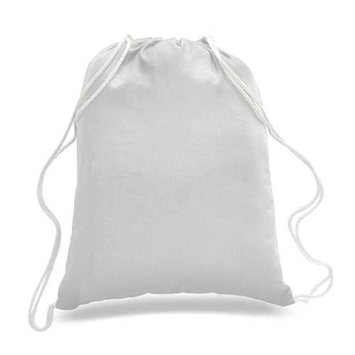 "Case of [216] 18"" Economy White Drawstring Backpack - Canvas"