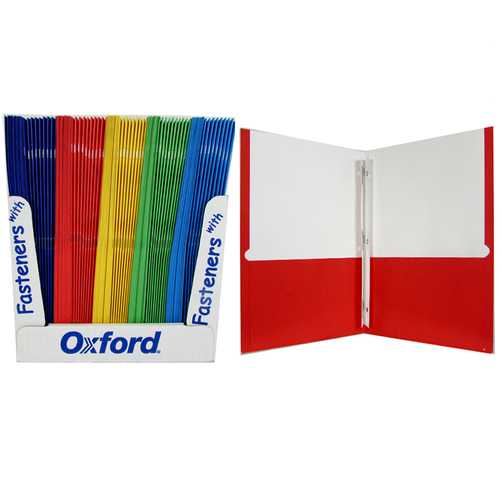 """Case of [100] Paper 2 Pocket Folder with Prongs Made in USA - 8.5"""" x 11"""""""