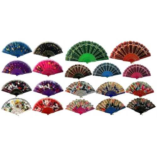 Case of [120] Colorful Fans - Assorted Floral Prints