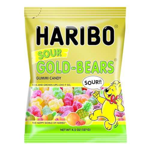 Case of [12] Haribo Sour Gold Bears Peg 4.5oz