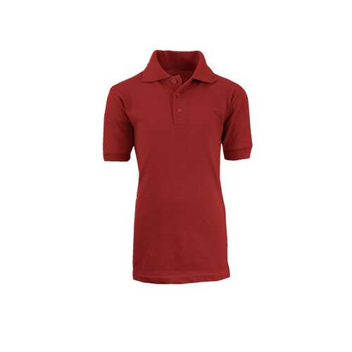 Case of [36] Adult School Burgundy Uniform Short Sleeve Polo Shirts - Size M-XXL