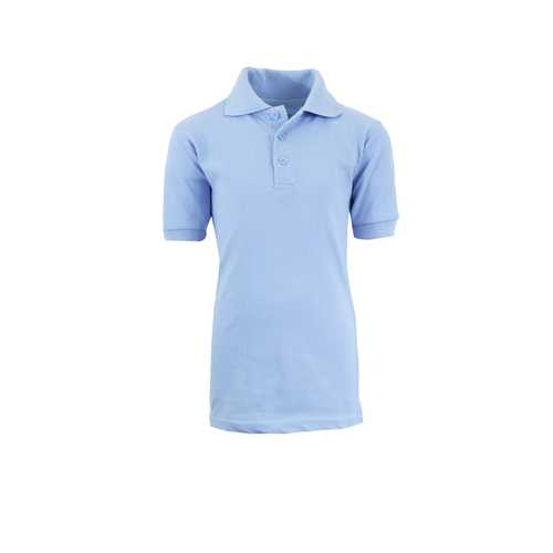 Case of [36] Boys School Light Blue Uniform Short Sleeve Polo Shirts - Size Size 8-18
