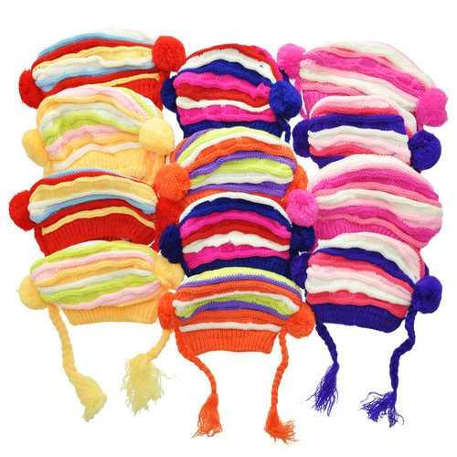 Case of [120] Kids' Stripe Knit Pom Tassel Caps