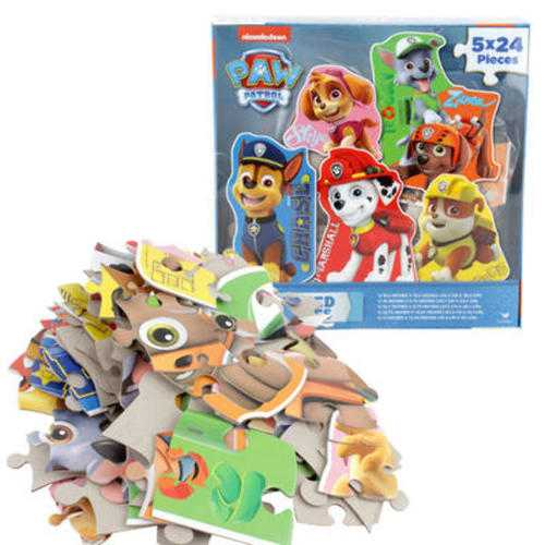Case of [12] Nickelodeon Paw Patrol Character-Shaped Puzzle 5-Pack