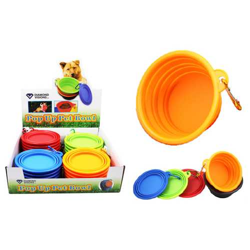 Case of [25] Pop Up Silicone Pet Bowl