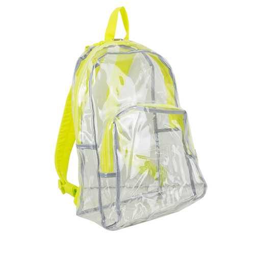 """Case of [12] 17"""" Eastsport Basic Clear Backpack- Yellow"""