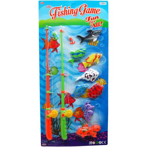"""Case of [12] 8-Piece Fishing Play Set with 2-Piece 18.5"""" Rods"""