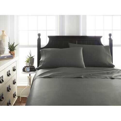 Case of [12] Soft Essentials Premium Bamboo 4 Piece Luxury Bed Sheet Set(California King - Gray)