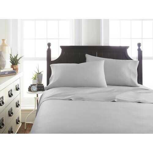Case of [12] Soft Essentials Premium Bamboo 4 Piece Luxury Bed Sheet Set(California King - Light Gray)