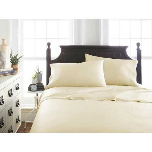 Case of [12] QueenPremium Bamboo 4 Piece Luxury Bed Sheet Set - Ivory