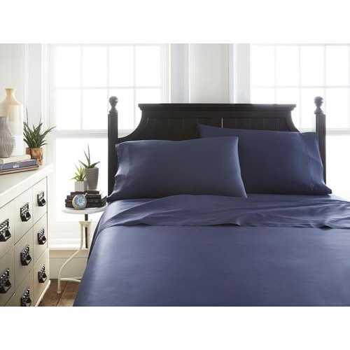 Case of [12] QueenPremium Bamboo 4 Piece Luxury Bed Sheet Set - Navy