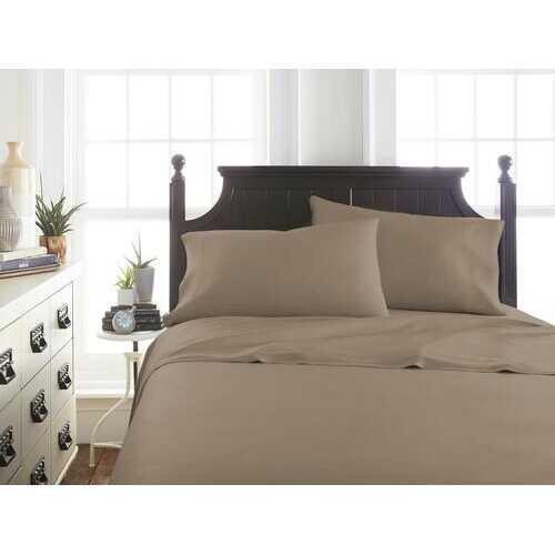 Case of [12] Soft Essentials Premium Bamboo 4 Piece Luxury Bed Sheet Set(Queen - Taupe)