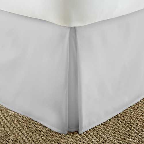 Case of [12] KingPremium Pleated Dust Bed Skirt Ruffle - Light Gray