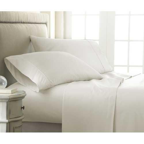 Case of [12] California KingPremium Embossed Checker Design 4 Piece Bed Sheet Set - Ivory