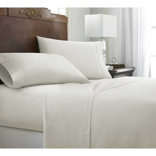 Case of [12] FullPremium Embossed Chevron Design 4 Piece Bed Sheet Set - Ivory