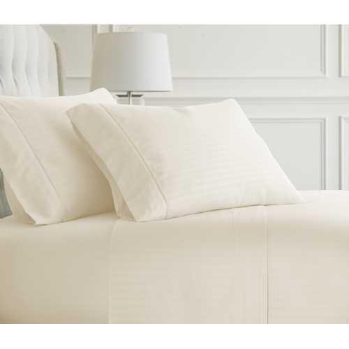 Case of [12] FullPremium Embossed Striped Design 4 Piece Bed Sheet Set - Ivory