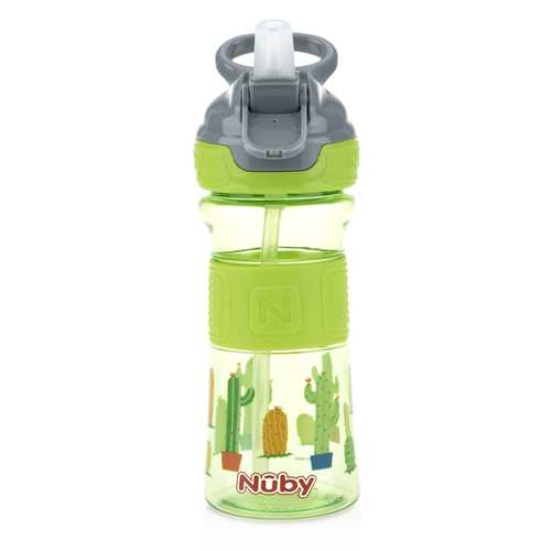 Case of [12] Nuby Push Button Flip-it Soft Spout on the Go Cup - Green Cactus 12 oz