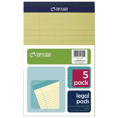 """Case of [12] 5-Pack Canary Legal Pad - 5"""" x 8"""""""