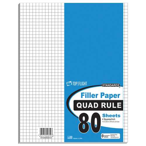 "Case of [12] 80 Count Quad Ruled Filler Paper - 11"" x 8.5"""