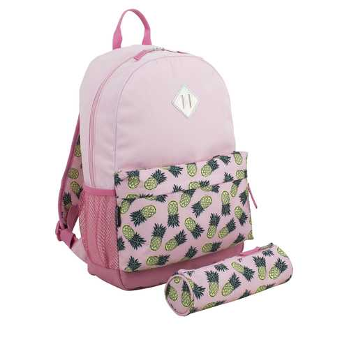 """Case of [24] 18"""" Eastsport Premium Backpack with Pencil Case - Pink Pineapple"""