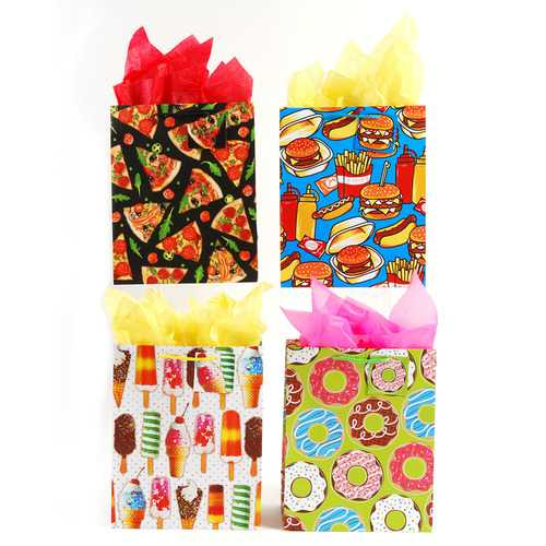 Case of [108] Extra Large Picnic, Donuts, Ice Cream and Pizza Theme Junkfood Party Matte Finish Gift Bags