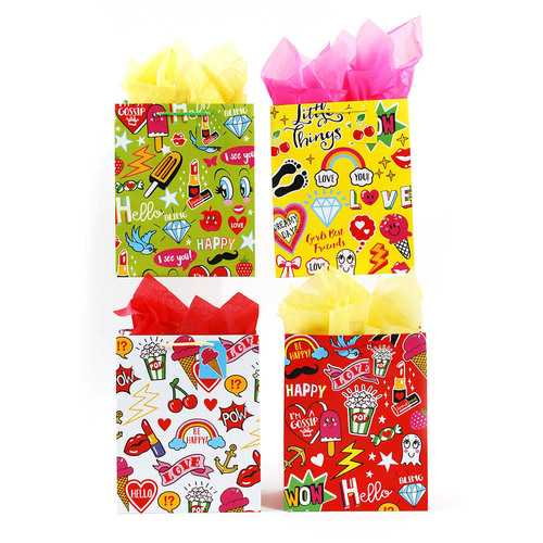 Case of [108] Extra Large Girls Party Theme Matte Finish Gift Bags