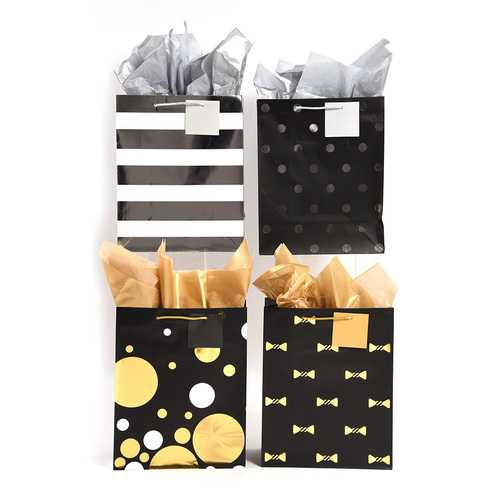 Case of [108] Extra Large Hot Stamp Party Patterned Gift Bags