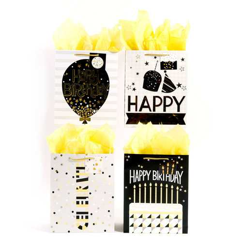 Case of [108] Horizontal Sparkling Black, Gold and Silver Birthday Matte Finish Gift Bags with Hot Stamping