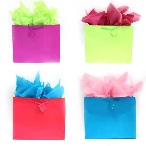 Case of [108] Horizontal Matte Finish Solid Color Gift Bags