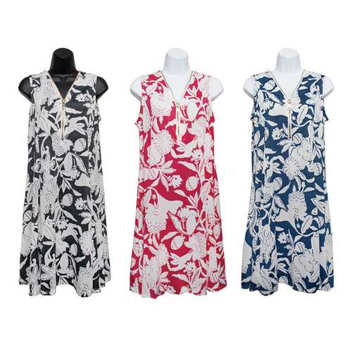 Case of [18] Women's Sleeveless Floral Print Cover-Ups with Front Zipper - Sizes Small-XL