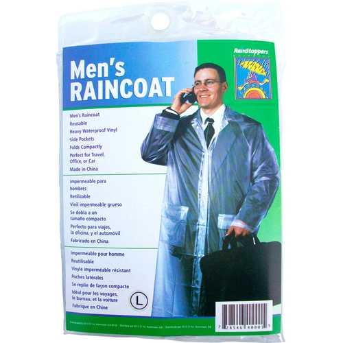 Case of [6] Adult Reusable Vinyl Emergency Raincoats - Grey