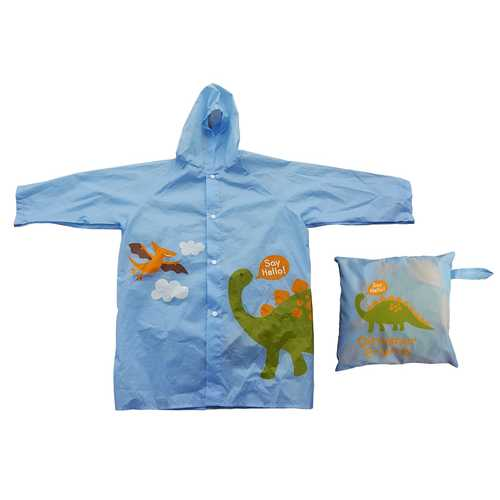 Case of [6] Children's Reusable Vinyl Dinosaur Raincoats with Travel Pouch