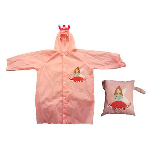 Case of [6] Children's Reusable Vinyl Princess Raincoats with Travel Pouch