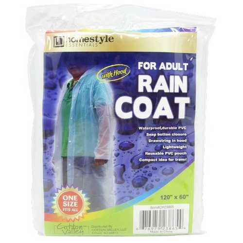 Case of [48] Adult PVC Raincoat with Hood