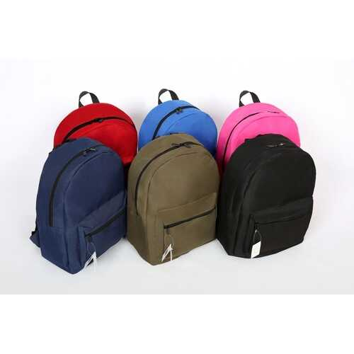 "Case of [12] 17"" Basic Backpack - 6 Assorted Colors"