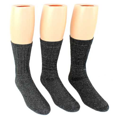Case of [10] Men's Charcoal Wool Blend Thermal Crew Socks - 3-Pack - Size 10-13