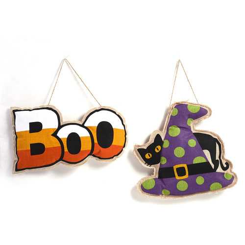 "Case of [12] Burlap Halloween Hanging Decorations with ""Boo"" and ""Black Cat"" Motif"