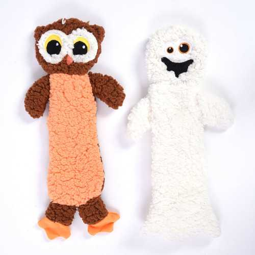 Case of [24] Halloween Plush Pet Toy - Owl and Ghost