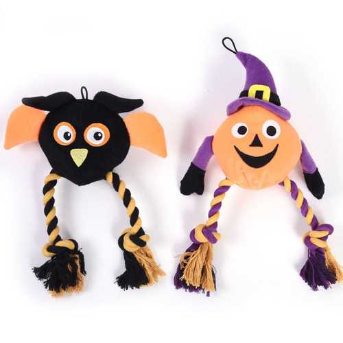 Case of [24] Halloween Plush Pet Toy - Owl and Pumpkin
