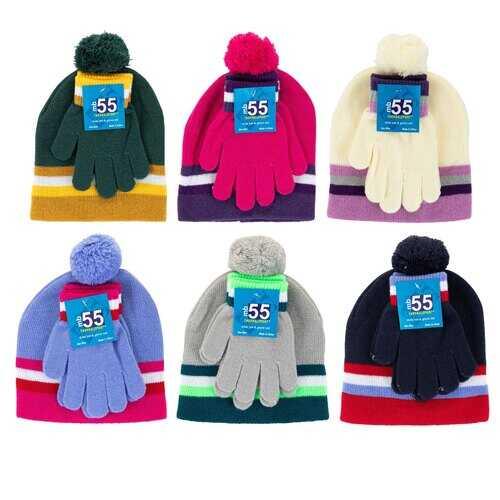 Case of [24] Kids' Color Block Striped Hat and Gloves Set