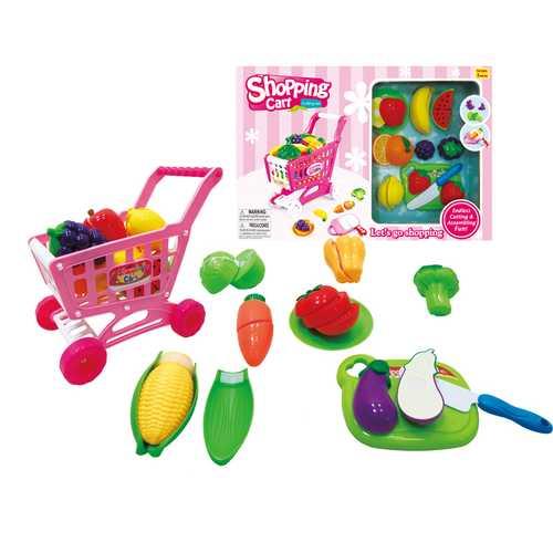 Case of [24] Kitchen Shopping Cart & Pretend Food Set 2 Asstd.
