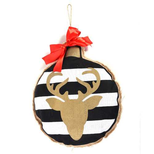 Case of [12] Burlap Christmas Hanging Decoration with Reindeer Motif