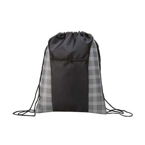 """Case of [100] 17"""" Classic Drawstring Backpack - Plaid Prints"""