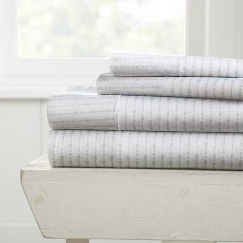 Case of [12] Full Beaded Arrow Pattern 4 Piece Bed Sheet Set - Gray