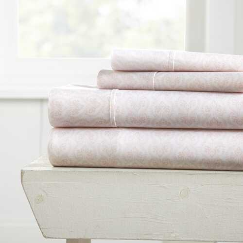 Case of [12] Full Ultra Soft Classic in Pink Pattern 4 Piece Bed Sheet Set