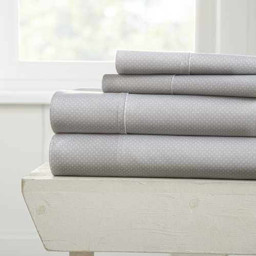 Case of [12] Full My Heart Pattern 4 Piece Bed Sheet Set - Gray