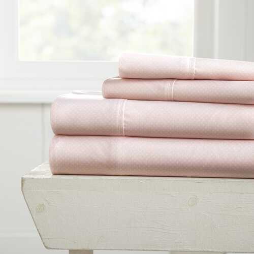 Case of [12] Full Pink Ultra Soft My Heart Pattern 4 Piece Bed Sheet Set