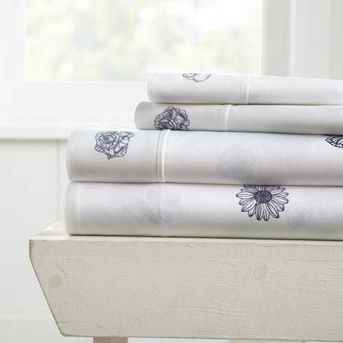 Case of [12] Full Indigo FlowerPattern 4 Piece Bed Sheet Set - Indigo