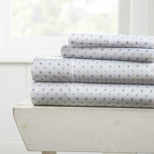Case of [12] California King Lily Pattern 4 Piece Bed Sheet Set